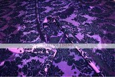 Flocking Damask Taffeta Tablecloth - Purple/Black