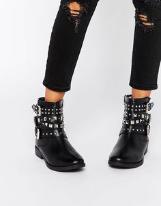 Image 1 of ASOS AGRO Leather Studded Biker Boots