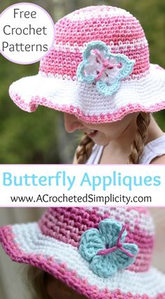 Free Crochet Patterns - Butterfly Appliques - 2 Styles & Sizes - by A Crocheted Simplicity (photo tutorial)