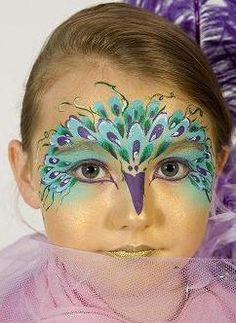 I like the feathers, but I would do the head/beak part--- Peacock design: Gravesend, Kent, UK Follies have been delighting children and adults with face painting all over the UK for the last 20 years. Our expert team are fun, Peacock Face Painting, Girl Face Painting, Face Painting Designs, Painting For Kids, Paint Designs, Body Painting, Face Paintings, Up Halloween, Halloween Makeup