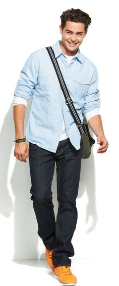 Dark wash denim pairs well with a chambray button-down. #school #Kohls