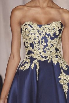 Blue Gown with gold embroidery