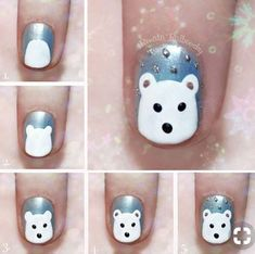 Simple Winter Nail art Ideas for Short Nails Loading. Simple Winter Nail art Ideas for Short Nails Pretty Nail Designs, Winter Nail Designs, Christmas Nail Designs, Simple Nail Designs, Nail Art Designs, Nails Design, Easy Christmas Nail Art, Nail Designs For Kids, Animal Nail Designs