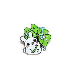 Clover Puddle Bunny Enamel Pin – Sugar Bunny Shop