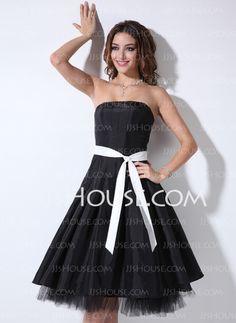 Bridesmaid Dresses - $83.99 - A-Line/Princess Strapless Tea-Length Taffeta Bridesmaid Dresses With Sash