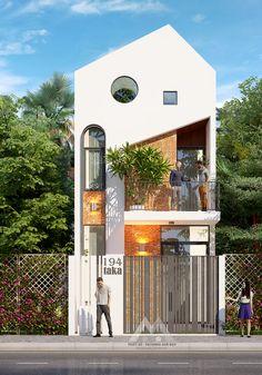 Architecture Building Design, Facade Design, Modern Architecture, House Fence Design, 2 Storey House Design, Minimal House Design, Small House Design, Narrow House, House Viewing