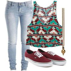 Simple yet cute!!!!!!! Luv the patterns in the shirt & the Vans!!! ♥♡♥
