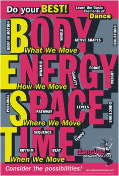 Terrific Photos Poster - Basic Elements of Dance (Body, Energy, Space & Time) / Poster de los el. Ideas Dance and action therapy is now a built-in portion of numerous day-care services in German-speakin Dance Teacher, Dance Class, Dance Studio, Teach Dance, Learn To Dance, Elementary Music, Elementary Schools, Elements Of Dance, Psychological Stress