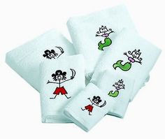 Embroidered Pirate & Mermaid Towel Sets