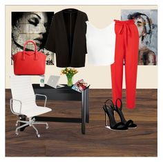 """""""A Day at Work"""" by alexis-rodriguez-styles on Polyvore featuring Miss Selfridge, Sans Souci, Giuseppe Zanotti, Bush Industries, Tucano, Herman Miller and Givenchy"""