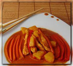 Bucataria lui Biga: Piept de pui cu ananas și sos dulce acrișor Thai Red Curry, Ethnic Recipes, Food, Meals, Yemek, Eten