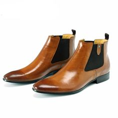 """gentclothes:  """"Brown Leather Chelsea Boots - Buy Now!  """""""