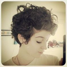 Natural curly pixie cut More