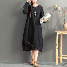 Spring/Autumn Loose Cotton-Linen Dress