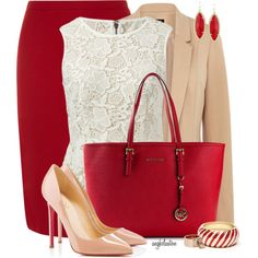Red, Nude, White for Office, created by angkclaxton on Polyvore