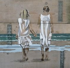 """""""Two little girls"""" scaffolding wood / steigerhout Met dit schilderij heb ik de tweede prijs gewonnen met de jubileumwedstrijd van galerie """"het oude raadhuis"""" te Warmond. Ik was geiinspireerd door een foto van Hans Vink uit Noordwijk. Zo'n mooi plaatje!!"""