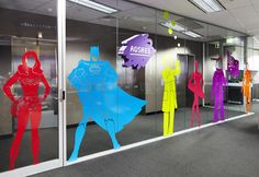 THERE Design - Adshel Character wall Great use of color to show off superheroes in these graphics!