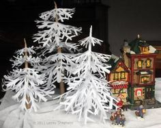 Use Paper Snowflakes to Make Snowy Winter Trees: Winter Trees for Miniature Scenes Made From Simple Cut Paper Snowflakes