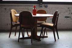 Round Teak Dining Table (Denmark, 1960s).