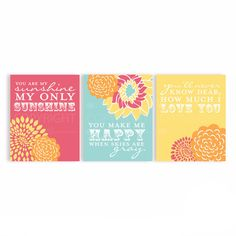You are my Sunshine lyric print set for your little ones first nursery. These sweet art prints are the perfect way to decorate your little ones first room!