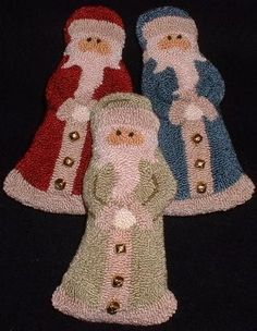 Primitive Needle Punch PATTERN 3 Santa Ornies by thetalkingcrow, $8.00