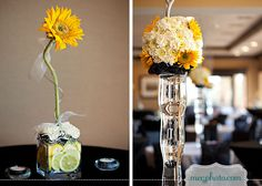 #wedding reception centerpieces #sunflower decor