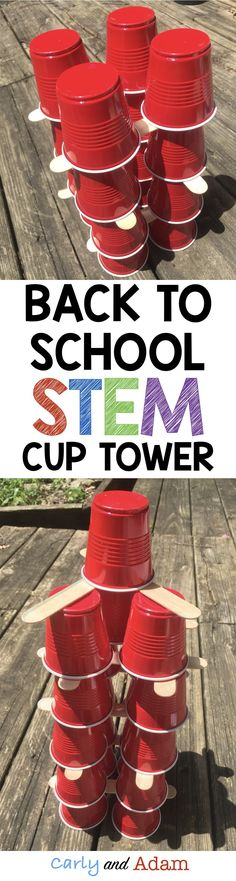 This back to school STEM activity helps students develop teamwork and problem solving skills as they work together to build a tower out of cups and popsicle sticks. Perfect to use as a beginning of the year STEM activity!