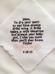 Personalized wedding handkerchief for Mom or by embroidermehankies, $20.00
