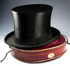 Antique Victorian - Edwardian Era Silk Top Hat, French in Original Travel Box