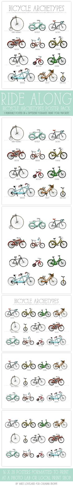 Printable Bike Poster Pack: Pick the poster that fits you best, download and print! Only $10