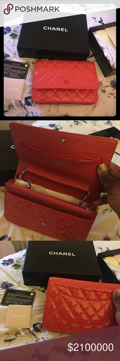 Authentic Chanel Woc Rose Fonce Preloved beautiful Chanel WOC wallet on a chain. Not for sale just showing some love to one of the best high end designers, Coco Chanel CHANEL Bags Crossbody Bags