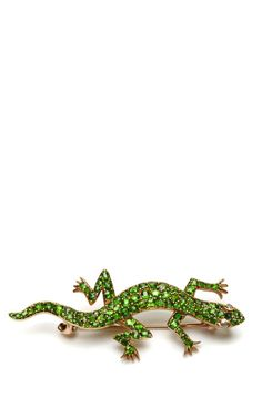 Shop Antique Demantoid Garnet Lizard Brooch by Simon Teakle for Preorder on Moda Operandi