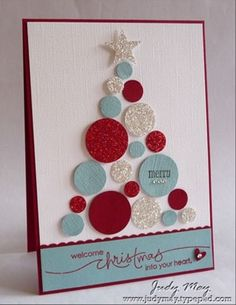 Christmas tree from circles...beautiful. Love the glimmer paper and the colour combo too.
