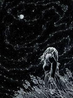 Summer Night ~ by artist AkagenoSaru - technical pen with white ink on black paper (stars, moon, art, illustration) Art And Illustration, Storyboard Illustrations, Ink Illustrations, Wow Art, Oeuvre D'art, Night Skies, Sky Night, Dream Night, Cold Night