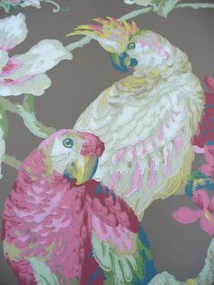 wallpaper detail - Ashford House Blooms - Tropical Birds