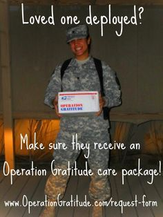 be honored to send your loved one an Operation Gratitude care package.would be honored to send your loved one an Operation Gratitude care package. Deployment Party, Military Deployment, Military Girlfriend, Army Mom, Army Life, Military Spouse, Deployment Countdown, Military Families, Deployment Quotes