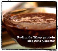 Pudim de chocolate com Whey Protein. Sobremesa proteica, boa fonte de proteinas de alto valor biológico.