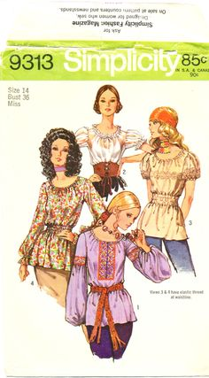 Simplicity 9313, Peasant blouse, Misses' size 14, Bust 36, 1970s fashion, ©1971 by MySewingChest on Etsy