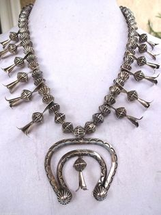 Vintage NAVAJO Hand-Stamped Sterling Silver SQUASH BLOSSOM Necklace, with Fluted Beads