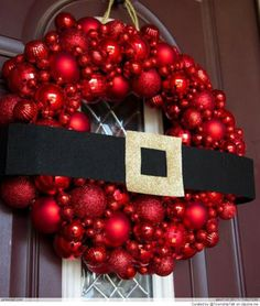 "FUN! #Christmas ""Santa"" wreath - just add his BELT to red ornament wreath!"
