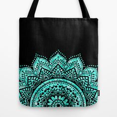 Black and Blue Teal Mandala Tote Bag