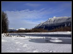 This photo from British Columbia, Western is titled 'Winter Peace'. Fraser Valley, British Columbia, Mount Rainier, Westerns, North America, Canada, Peace, Mountains, Winter