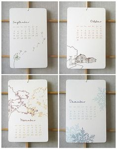 cool letterpress calendars