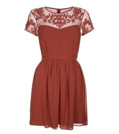 Chestnut Embroidered Mesh Sweetheart Cap Sleeve Dress