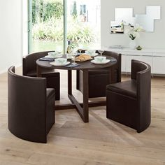 round dining table & chairs for small homes | space saving table