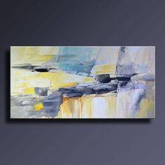 """48"""" Large ORIGINAL ABSTRACT Yellow Gray Blue Painting on Canvas Contemporary Abstract Modern Art wall decor - Unstretched"""