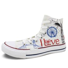 2dd4bdf88a07 Mens Womens UK Landmarks Hand Painted High Top Canvas Shoe - The GearBuyz  Store