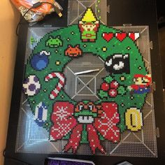 Video game Christmas wreath perler beads by manintanvan