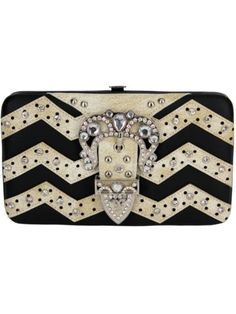 Black and Beige Chevron Buckle Flat Wallet