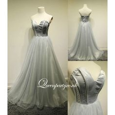 Silver Grey Tulle Strapless Ball Gown Prom Dress - Prom Dresses - Wedding Dresses